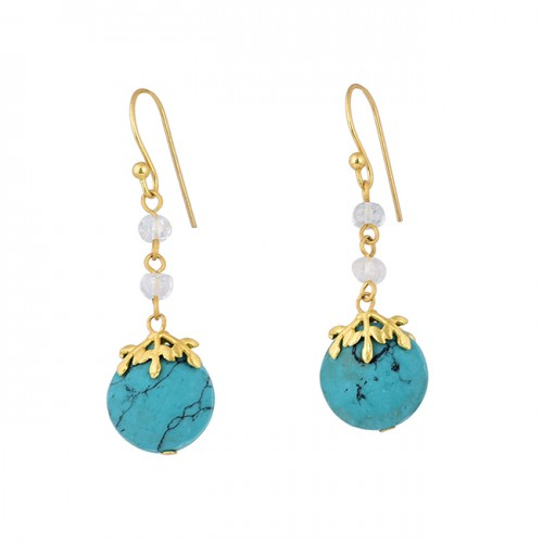 Turquoise Rainbow Moonstone 925 Sterling Silver Gold Plated Dangle Earrings