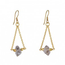 925 Sterling Silver Herkimer Diamiond Gemstone Gold Plated Chain Earrings
