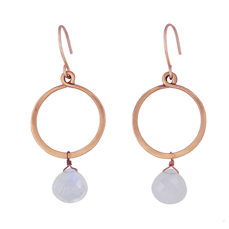 Heart Shape Rainbow Moonstone 925 Sterling Silver Gold Plated Dangle Earrings