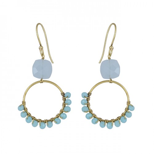 Aqua Chalcedony Gemstone 925 Sterling Silver Gold Plated Dangle Earrings