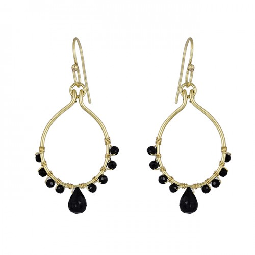 Black Onyx Pear Round Shape Gemstone 925 Silver Gold Plated Dangle Earrings
