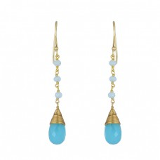 Aqua Chalcedony Pear Round Sahpe Gemstone 925 Silver Gold Plated Earrings
