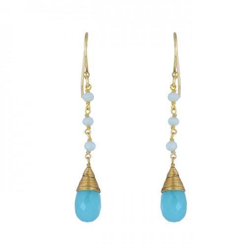 Aqua Chalcedony Pear Round Sahpe Gemstone 925 Silver Gold Plated Earrings