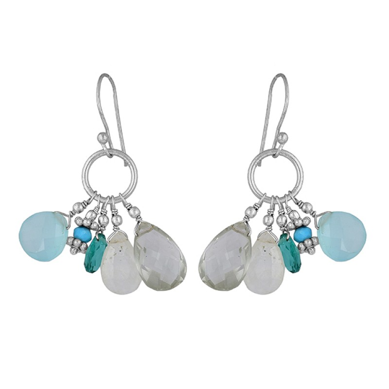 Roundel Beads Pear Drops Shape Gemstone 925 Silver Gold Plated Earrings