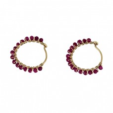 Roundel Beads Shape Ruby Gemstone 925 Sterling Silver Gold Plated Hoop Earrings