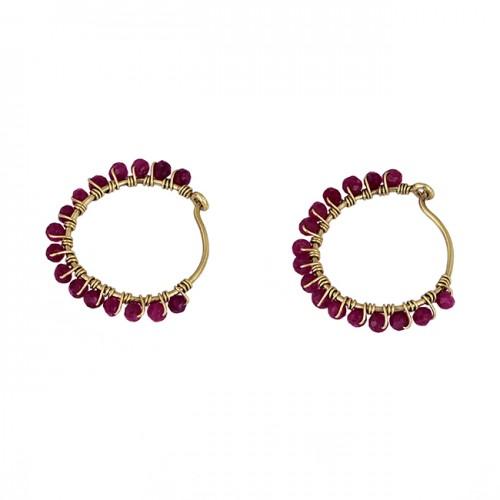Roundel Beads Shape Ruby Gemstone 925 Sterling Silver Gold Plated Hoop Earrings