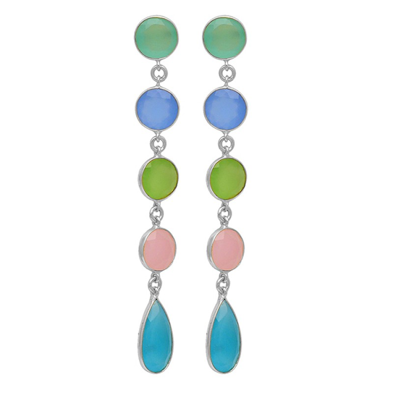 Handcrafted Bezel Setting Aqua Blue Prehnite Rose Color Chalcedony Gemstone 925 Sterling Silver Gold Plated Earrings