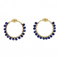 Roundel Beads Shape Sapphire Gemstone 925 Silver Gold Plated Hoop Earrings