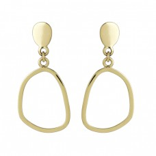 925 Sterling Silver Plain Designer Gold Plated Dangle Stud Earrings