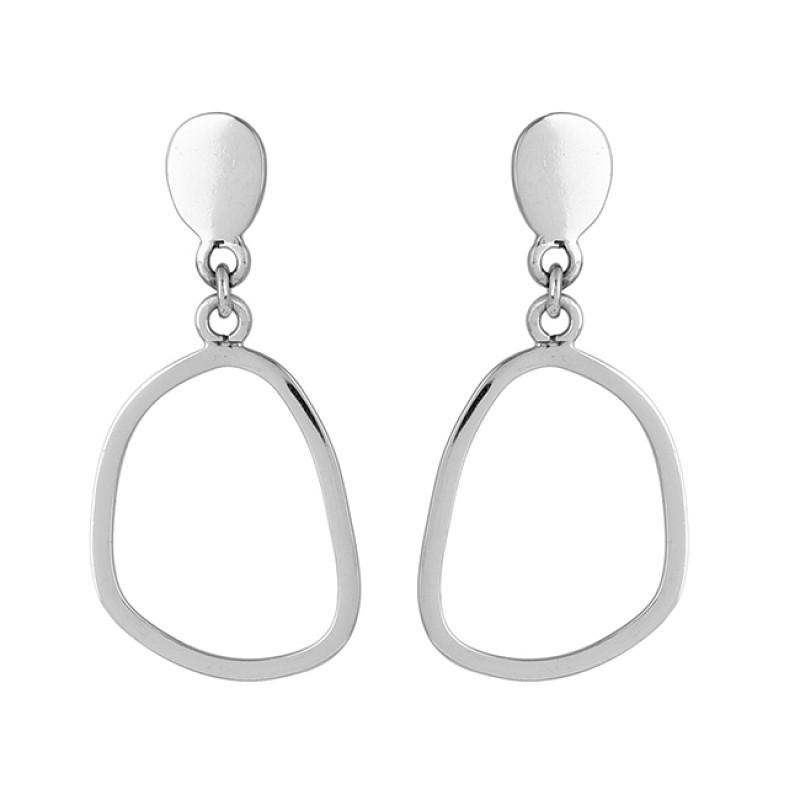 925 Sterling Silver Plain Designer Gold Plated Dangle Stud Earrings