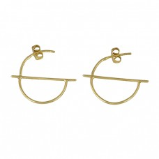 Handmade Designer Plain 925 Sterling Silver Gold Plated Hoop Earrings