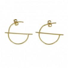 Handmade Designer Plain 925 Sterling Silver Gold Plated Hoop Earrings