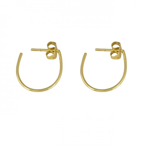 925 Sterling Silver Plain Handcrafted Designer Gold Plated Hoop Earrings