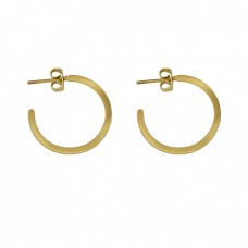 925 Sterling Silver Plain Designer Gold Plated Handmade Hoop Earrings