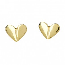Heart Shape Plain Handmade Designer 925 Sterling Silver Gold Plated Earrings