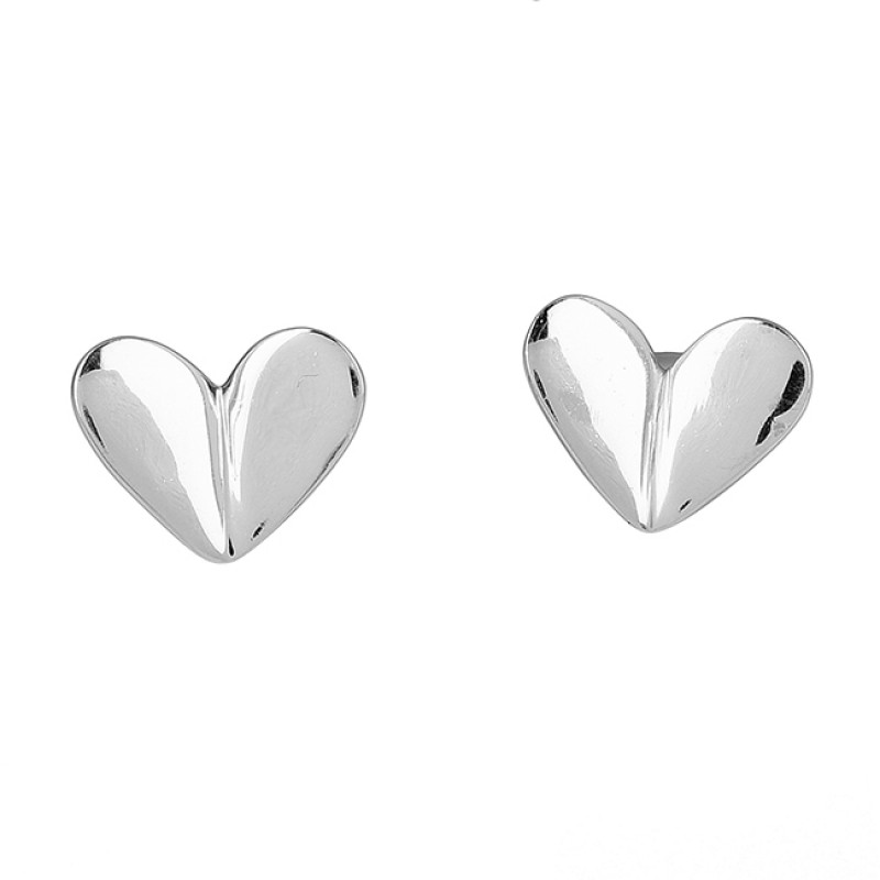 Heart Shape Plain Handmade Designer 925 Sterling Silver Gold Plated Earrings