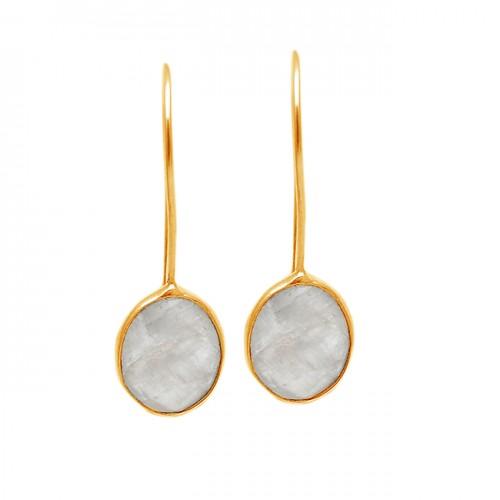 Oval Shape Rainbow Moonstone 925 Sterling Silver Fixed Ear Wire Earrings