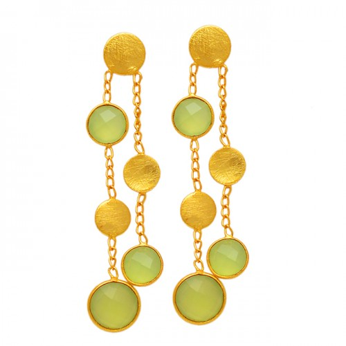 Hanging Chain Bezel Setting Round Shape Gemstone 925 Sterling Silver Gold Plated Stud Earrings