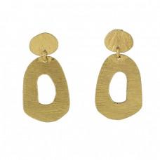 925 Sterling Silver Plain Handmade Designer Gold Plated Stud Dangle Earrings