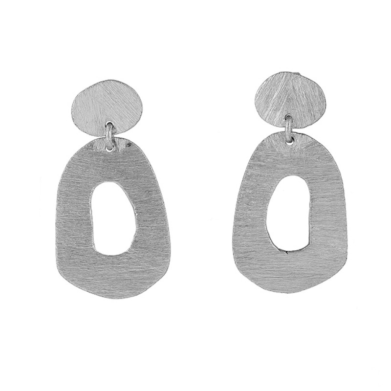 925 Sterling Silver Plain Handmade Designer Gold Plated Stud Dangle Earrings