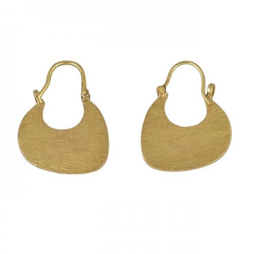 Handcrafted Designer Plain 925 Sterling Silver Gold Plated Hoop Earrings