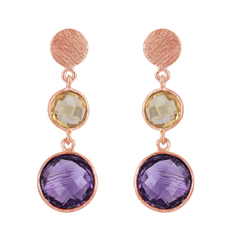 Citrine Amethyst Gemstone 925 Sterling Silver Gold Plated Stud Dangle Earrings