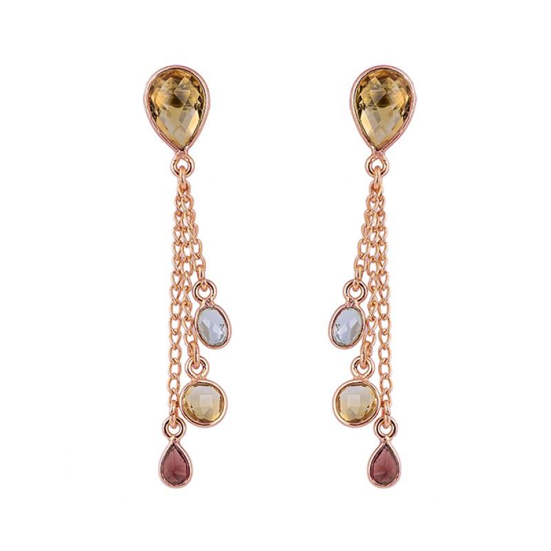 Citrine Tourmaline Blue Topaz Gemstone 925 Silver Gold Plated Chain Earrings