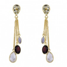 Crystal Tanzanite Garnet Gemstone 925 Silver Gold Plated Chain Stud Earrings