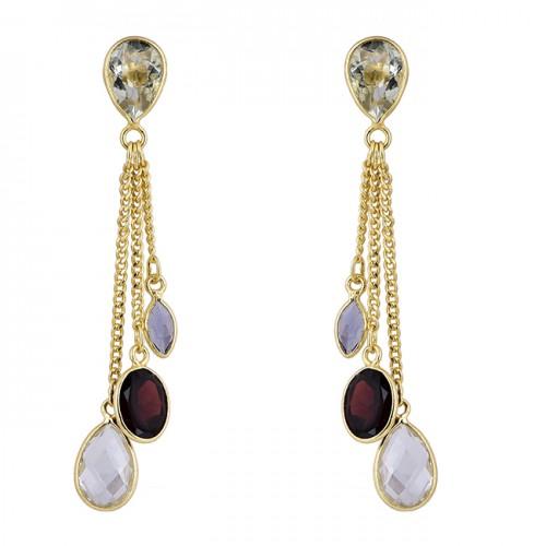 Crystal Tanzanite Garnet Gemstone 925 Silver Gold Plated Chain Stud Earrings