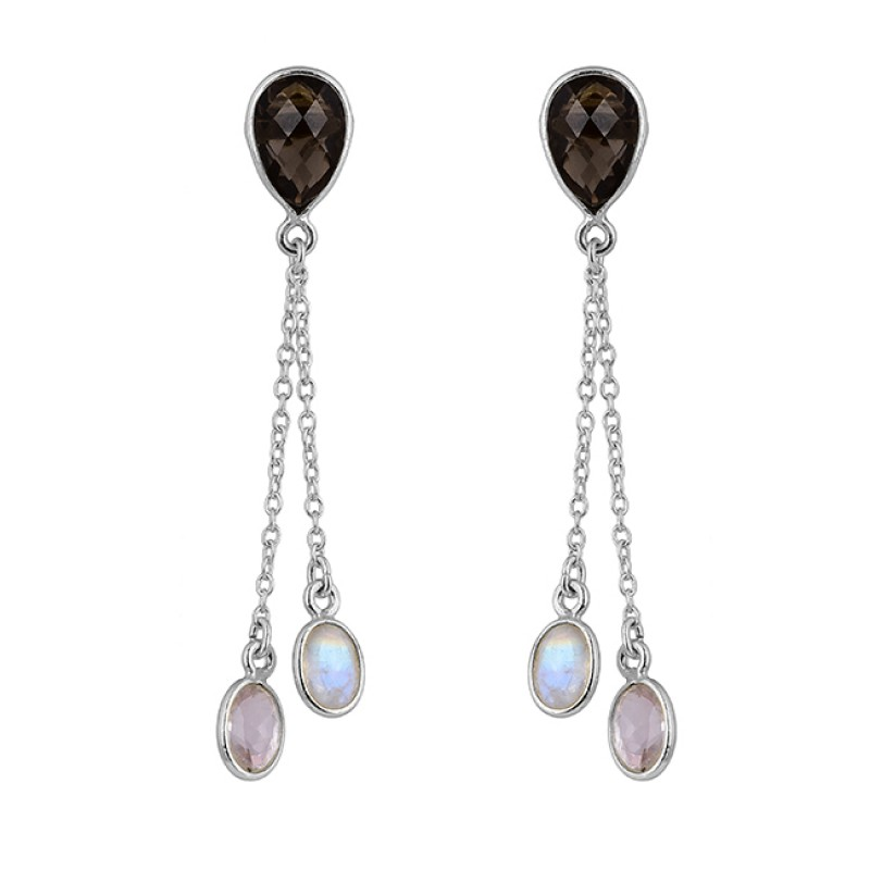 Smoky Quartz Moonstone 925 Sterling Silver Gold Plated Stud Chain Earrings