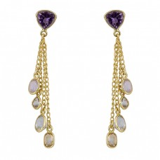 Amethyst Moonstone Citrine Crystal Gemstone Gold Plated Chain Dangle Earrings