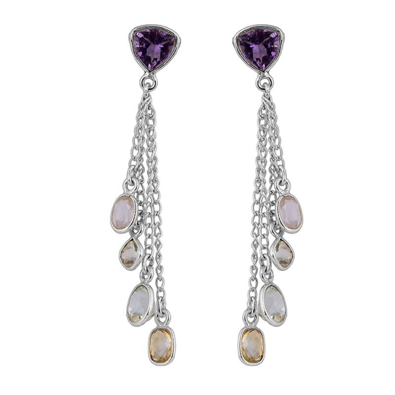 Amethyst Moonstone Citrine Crystal Gemstone Gold Plated Chain Dangle Earrings