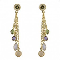 Citrine Peridot Amethyst Moonstone Gold Plated Stud Chain Dangle Earrings