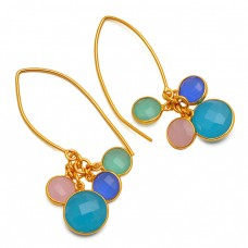 Bezel Setting Briolette Round Chalcedony Gemstone 925 Gold Plated Hoop Earrings