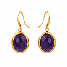 Oval Shape Amethyst Gemstone 925 Sterling Silver Bezel Setting Earrings