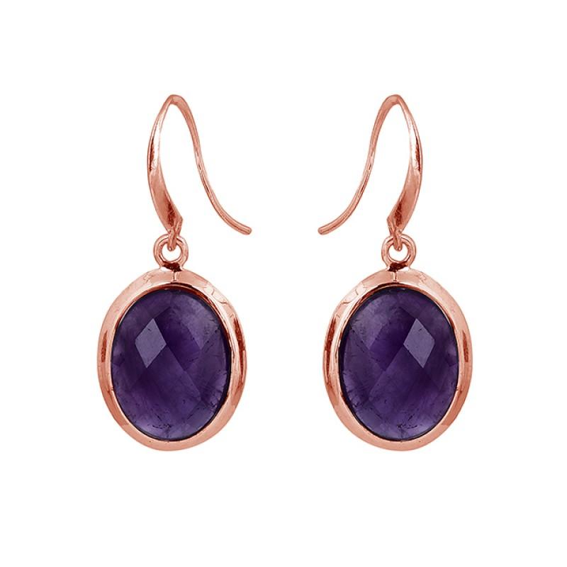 Oval Shape Amethyst Gemstone 925 Sterling Silver Bezel Setting Earrings