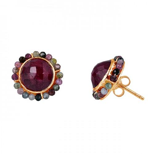 Ruby Tourmaline Gemstone 925 Sterling Silver Handmade Stud Earrings