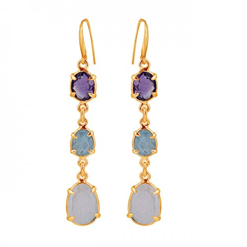 Amethyst Aquamarine Moonstone 925 Sterling Silver Prong Setting Earrings