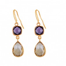 925 Sterling Silver Amethyst Citrine Gemstone Bezel Setting Dangle Earrings