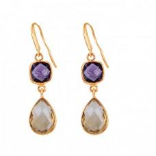 925 Sterling Silver Amethyst Citrine Gemstone Bezel Setting Dangle Earrings