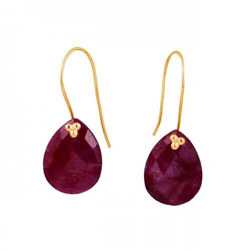 Pear Shape Ruby Gemstone 925 Sterling Silver Fixed Ear Wire Earrings