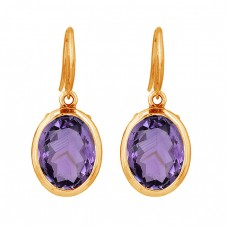 Oval Shape Amethyst Gemstone 925 Sterling Silver Dangle Earrings