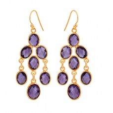 925 Sterling Silver Amethyst Oval Shape Gemstone Dangle Earrings