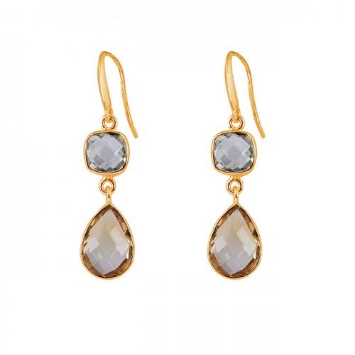 Green Amethyst Citrine Gemstone 925 Sterling Silver Handmade Designer Earrings