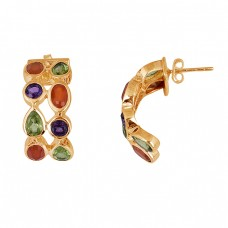 Carnelian Amethyst Peridot Gemstone 925 Sterling Silver Hoop Earrings