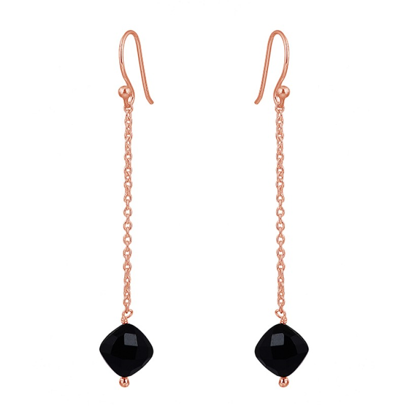 Black Onyx Cushion Shape Gemstone 925 Sterling Silver Chain Dangle Earrings