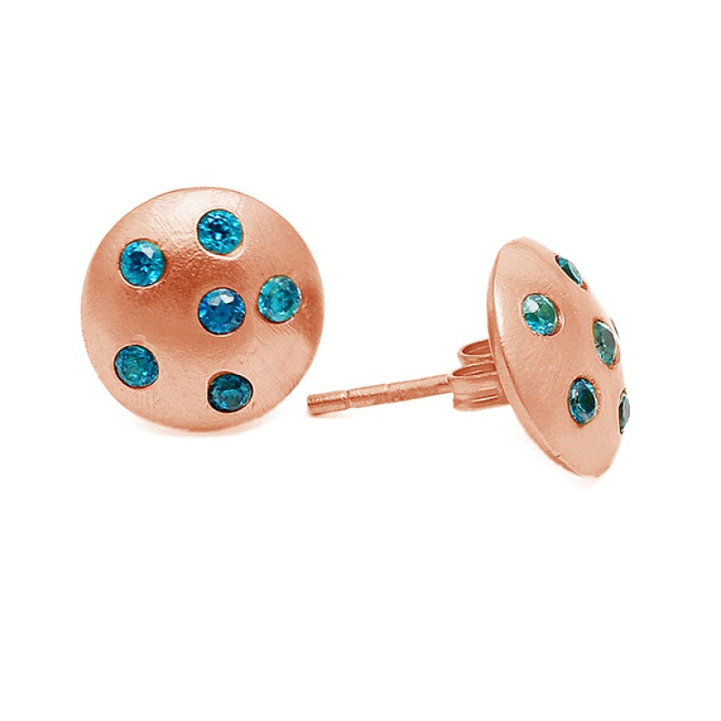 Blue Quartz Round Cut Gemstone 925 Sterling Silver Gold Plated Lite Weight Stud Earrings