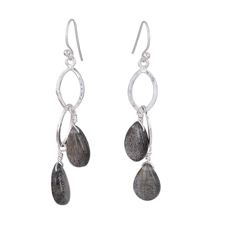 Pear Shape Labradorite Gemstone 925 Sterling Silver Dangle Earrings