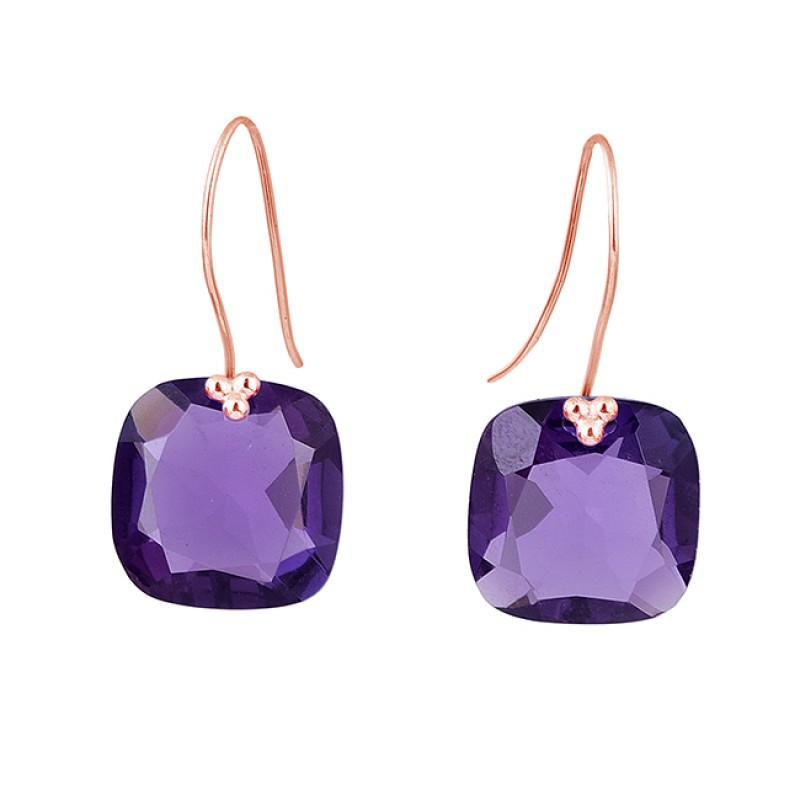 925 Sterling Silver Cushion Shape Amethyst Gemstone Fixed Ear Wire Earrings