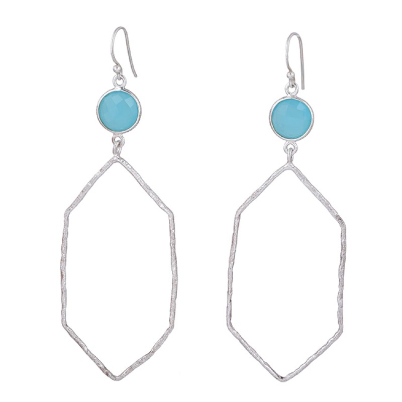 Round Shape Aqua Chalcedony Gemstone 925 Sterling Silver Dangle Earrings